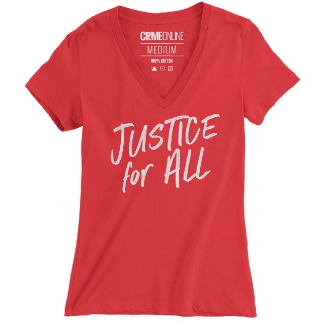 Crime Online Justice For All Red V Neck Tee